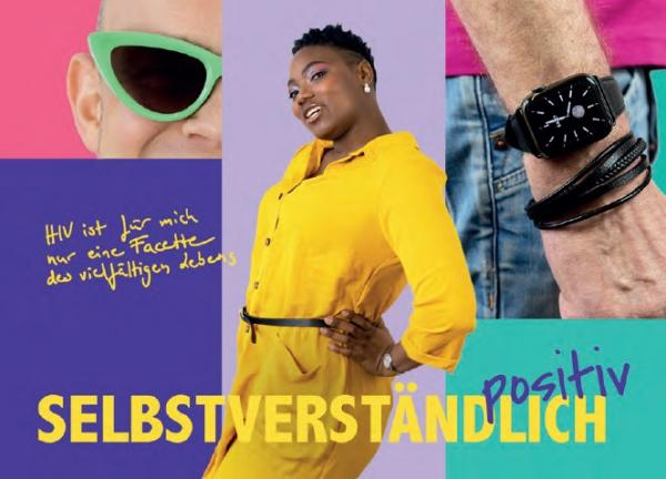 Bild einer Frau der Poeple of Colour Community im gelben Jumpsuit. Daneben Teilausschnitte des Bildes eines Mannes. Zusehen sind Handgelenkt mit Uhr und Teil seines Gesichtes mit Sonnenbrille.