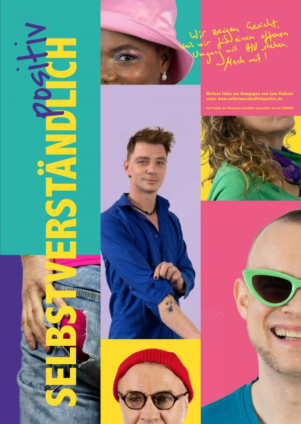 Ausschnitte verschiedener Gesicht von HIV-positiven Menschen.