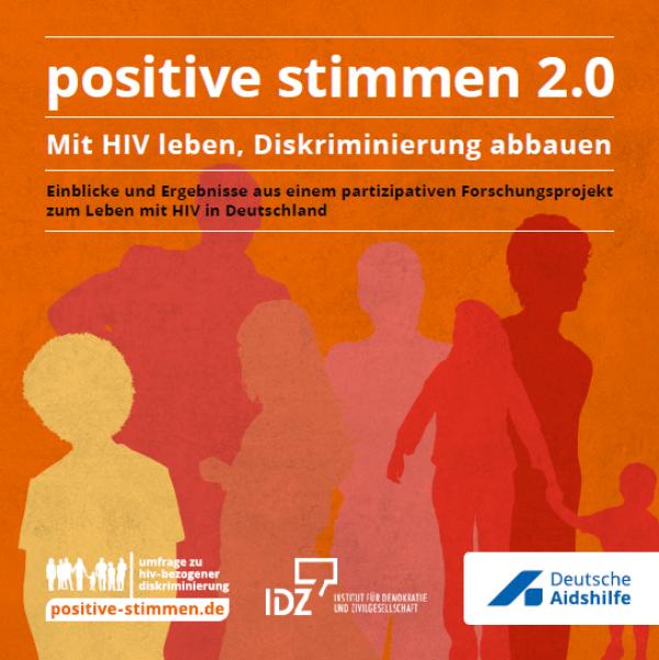 """Schattenrisse von verschiedenen Menschen auf orangem Hintergrund. Titel """"positive stimmen 2.0 - Mit HIV leben, Diskriminierung abbauen"""""""