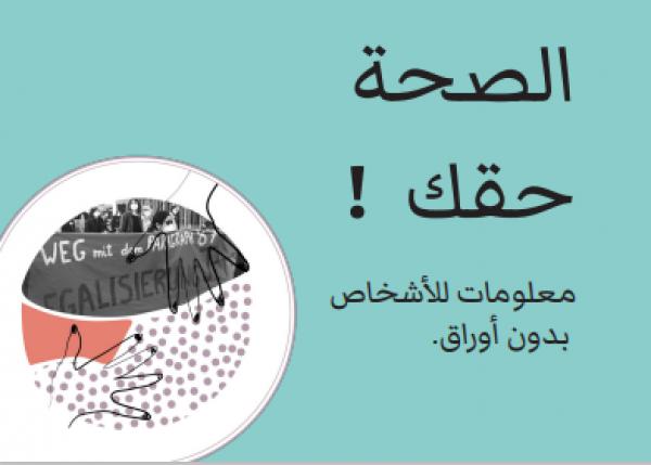 """Grüner Hintergrund, Foto von Demonstranten. Titel """"الصحة  حقك  !"""""""