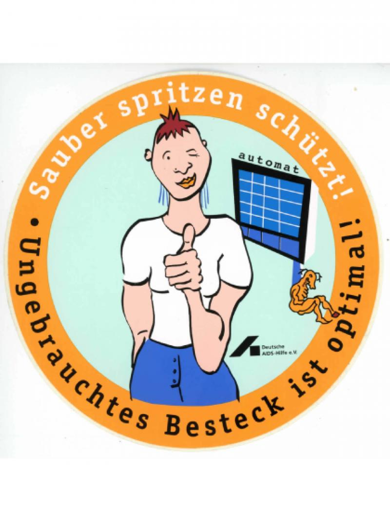 Sauber spritzen schützt! Aufkleber 1998