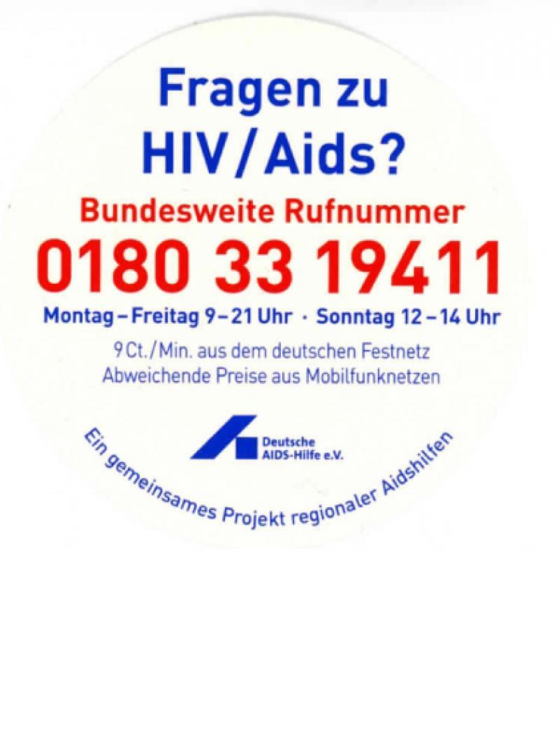 Fragen zu HIV/Aids? Bundesweite Rufnummer 0180 33 19411