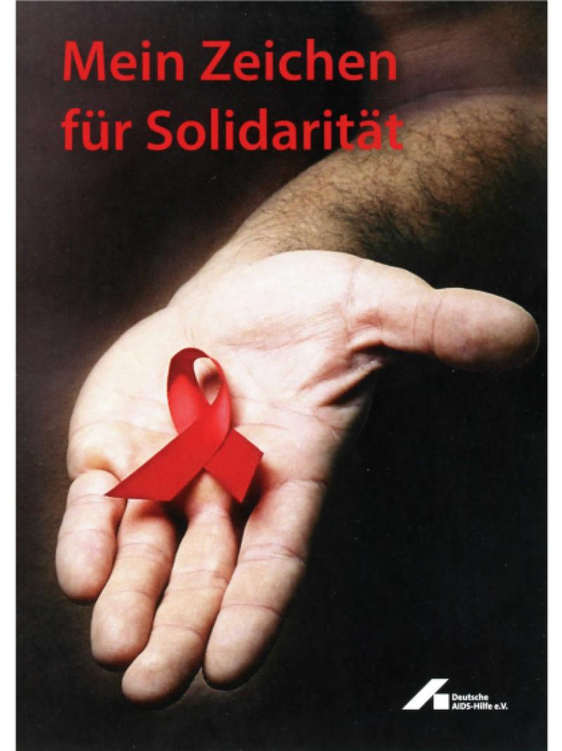 Mein Zeichen für Solidarität - Hand, Rote Schleife