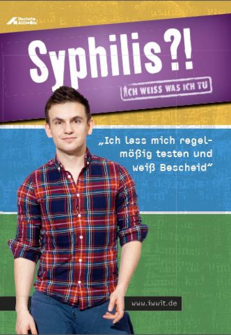 Titelbild Faltblatt Syphilis. Zu sehen ist ein junger Mann in Karohemd und blauer Hose.