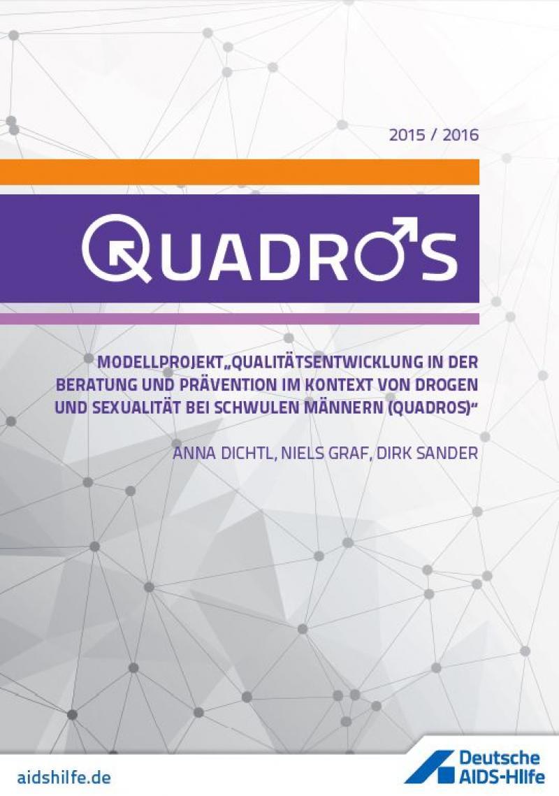 Titelblatt QUADROS Dokumentation, violettes Laufband auf grauem Hintergrund