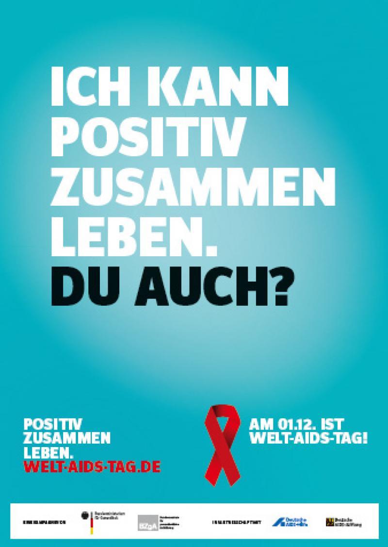 Deckblatt Leporello zum Welt-Aids-Tag 2016 - weisse SChrift auf grünem Grund