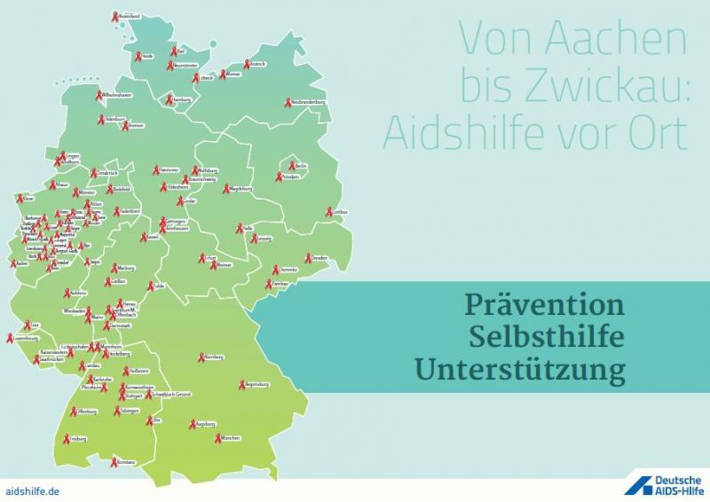 Deutschlandkarte mit den Standorten aller AIDS-Hilfen im Bundesgebiet und Luxemburg