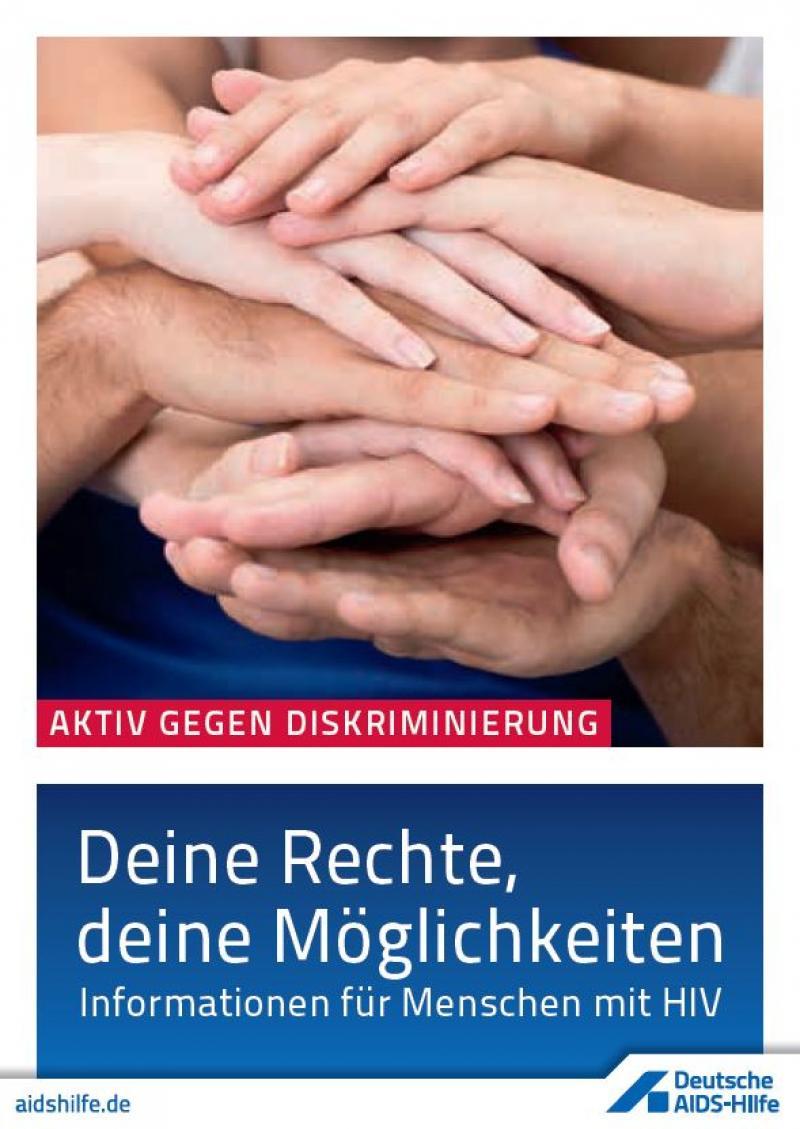 """Titelblatt """"Deine Rechte, deine Möglichkeiten"""", zu sehen sind viele, aufeinander gelegte Hände."""