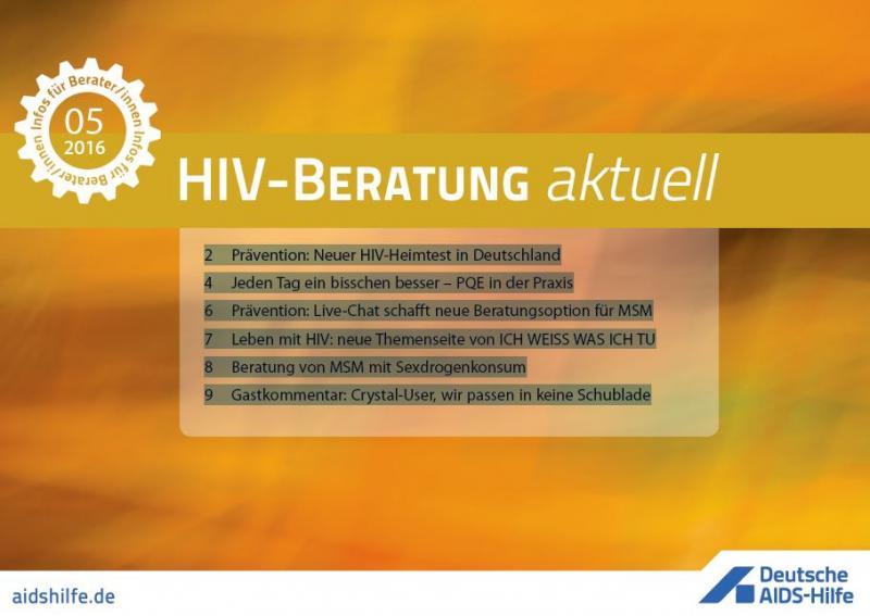 Deckblatt mit den Themen von HIV-Beratung aktuell Ausgabe 05 2016