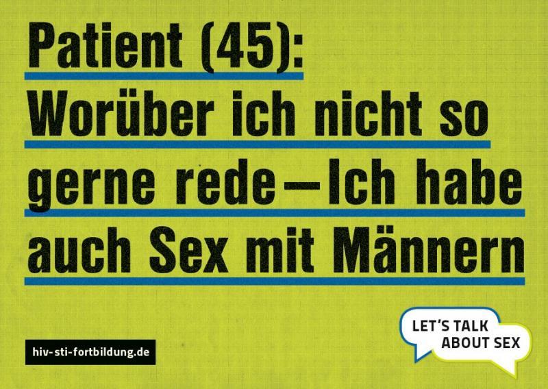 """Gelber Hintergrund mit Aufschrift """"Patient (45): Ich rede nicht so gerne darüber - aber ich habe auch Sex mit Männern"""""""