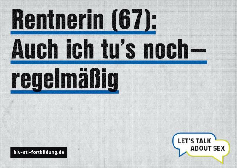 """Postkarte mit grauem Hintergrund und Aufschrift """"Rentnerin (67): Auch ich tu's noch - regelmäßig"""""""