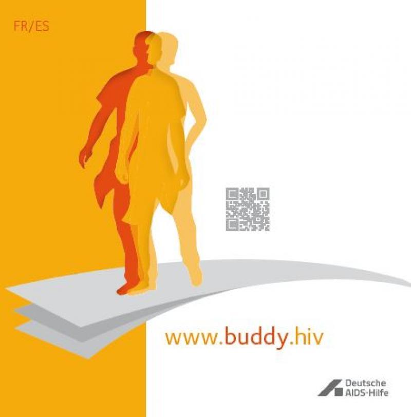 """Schemenhafte Darstellung eines Menschen auf einem Sprungbrett. Titelschrift """"www.buddy.hiv"""""""