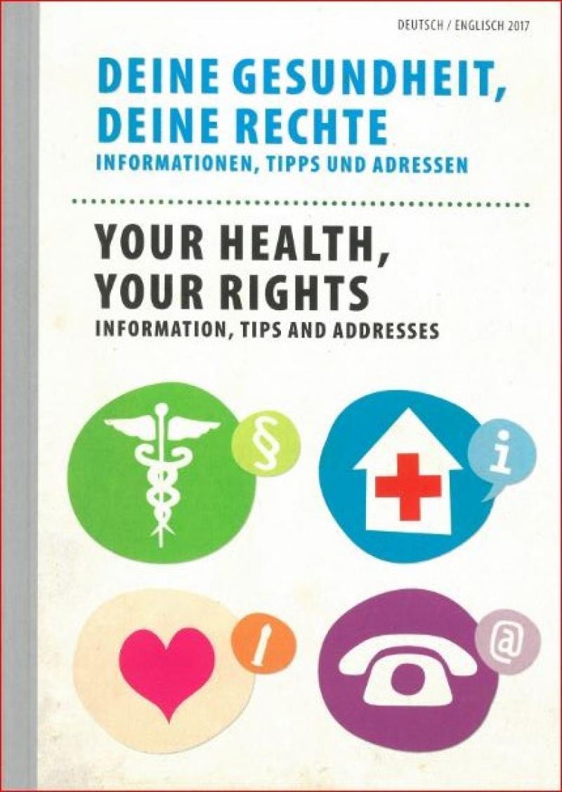 """Titelblatt """"Deine Gesundheit, Deine Rechte"""" auf Deutsch und Englisch"""