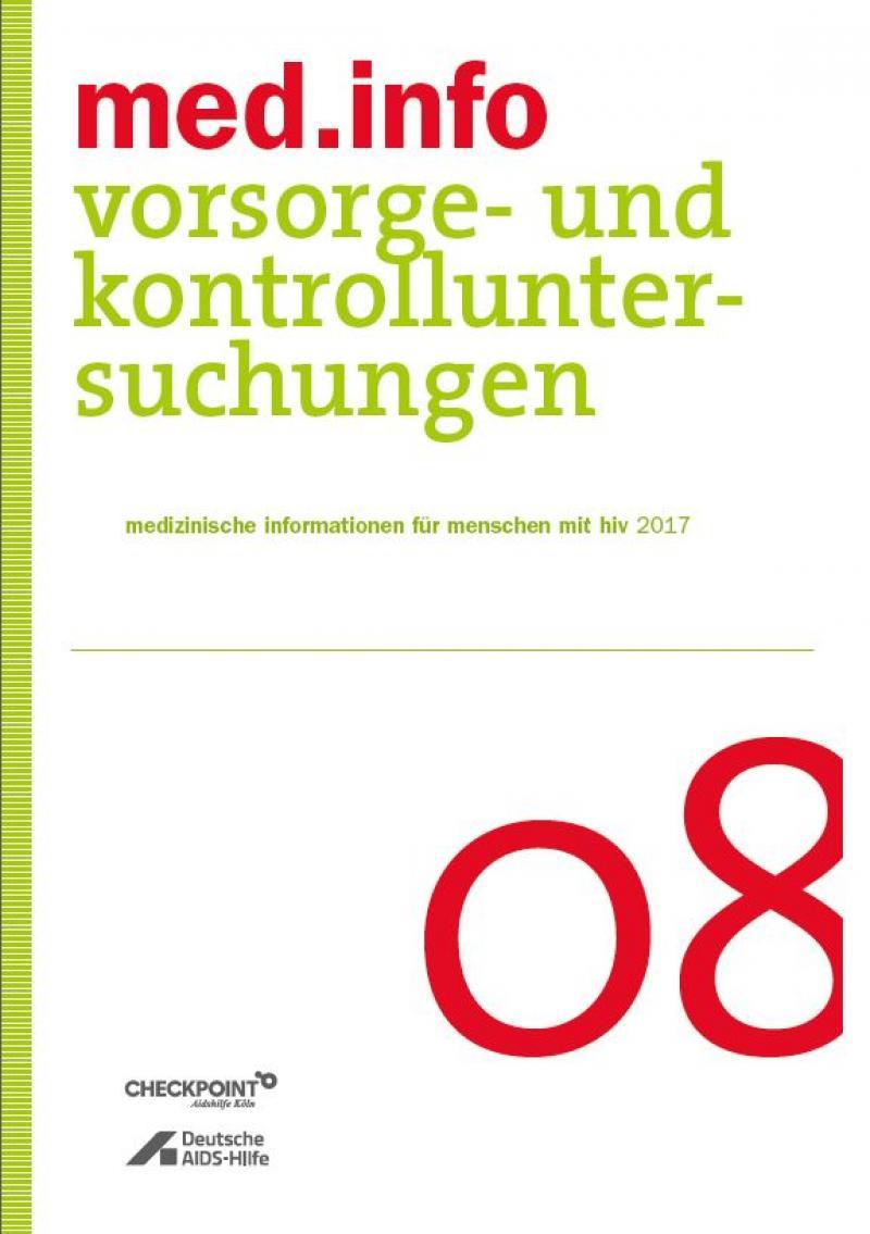 """Weisser Hintergrund mit Titelaufschrift """"med.info 08 - Vorsorge- und Kontrolluntersuchungen"""""""