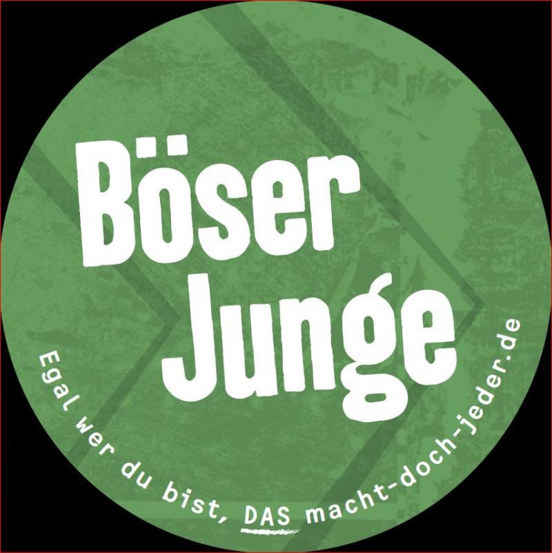 """Aufklber, Grün, Aufschrift """"Böser Junge"""""""