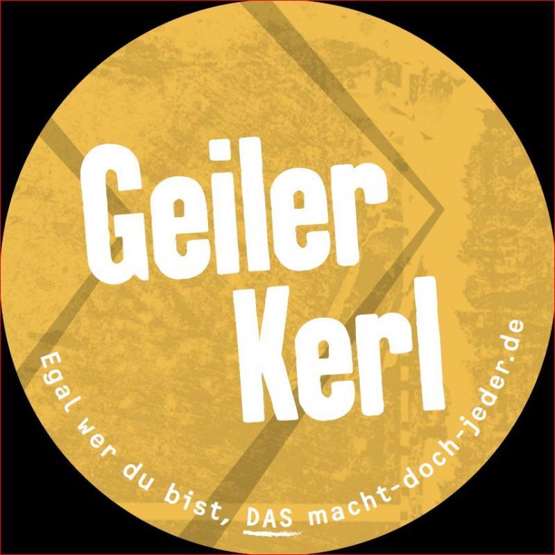 """Aufkleber, Gelb, Aufschrift """"Geiler Kerl"""""""