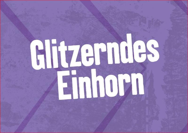 """Postkarte, lila, mit Aufdruck """"Glitzerndes Einhorn"""""""