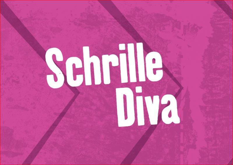 """Postkarte, Lila, Aufdruck """"Schrille Diva"""""""
