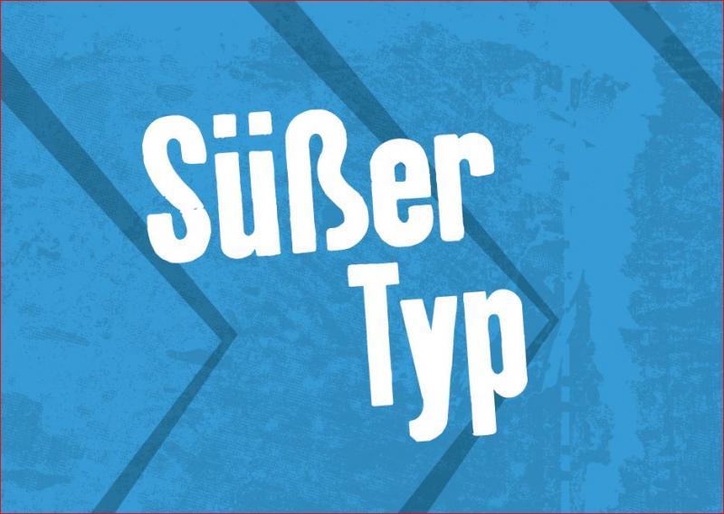 """Postkarte, Blau, Aufschrift """"Süßer Typ"""""""
