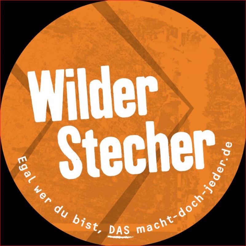 """Aufkleber, orange, mit Aufschrit """"Wilder Stecher"""""""