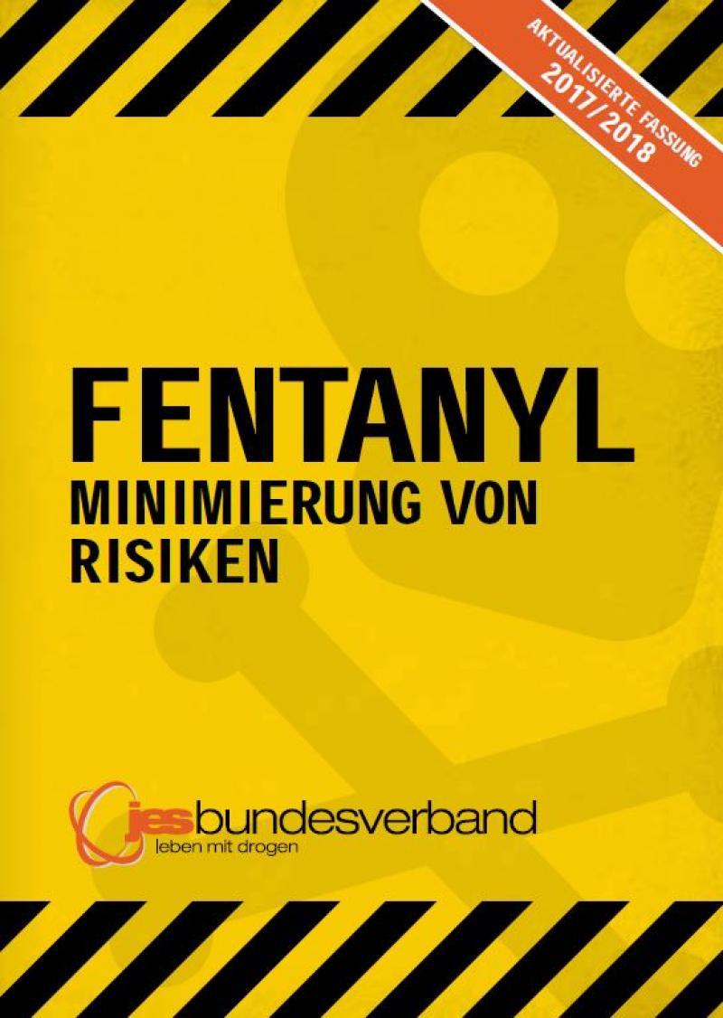"""Gelber Hintergrund mit schmenhaften Totenkopfsymbol. Titel """"Fentanyl - Minimierung von Risiken"""""""