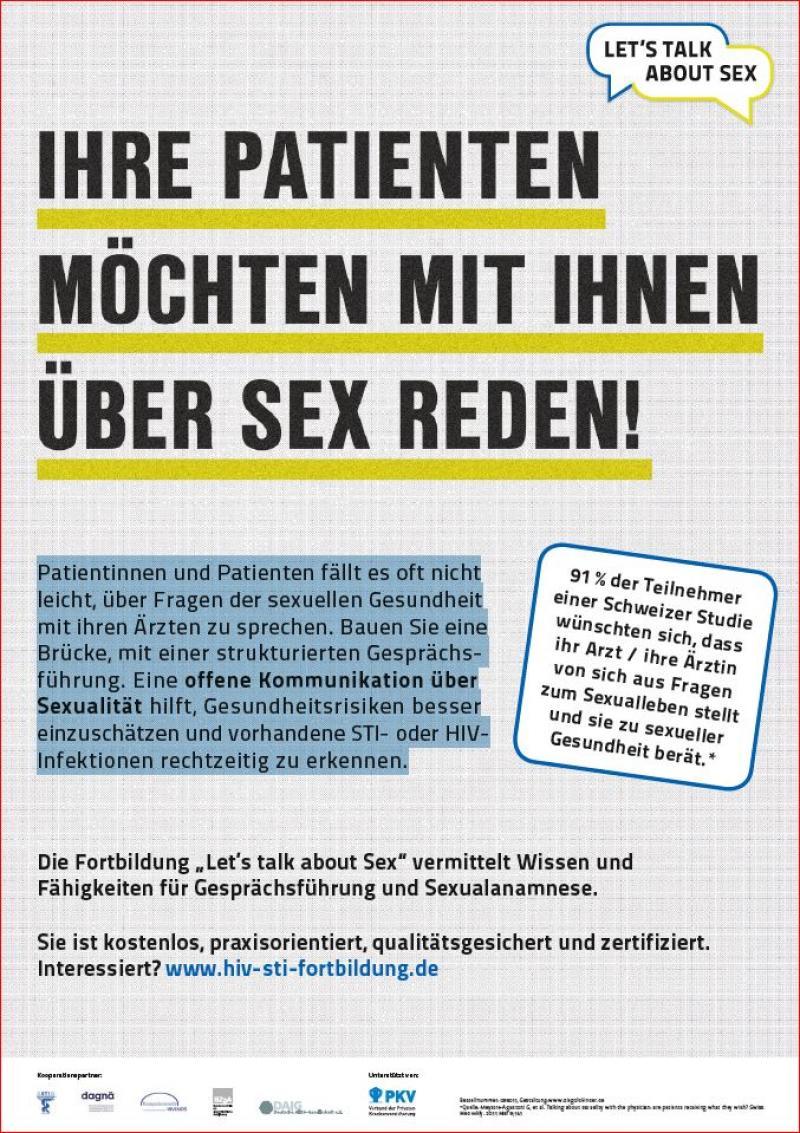 """Grauer Hintergrung. Titel """"Ihre Patienten möchten mit ihnen über Sex reden!"""""""