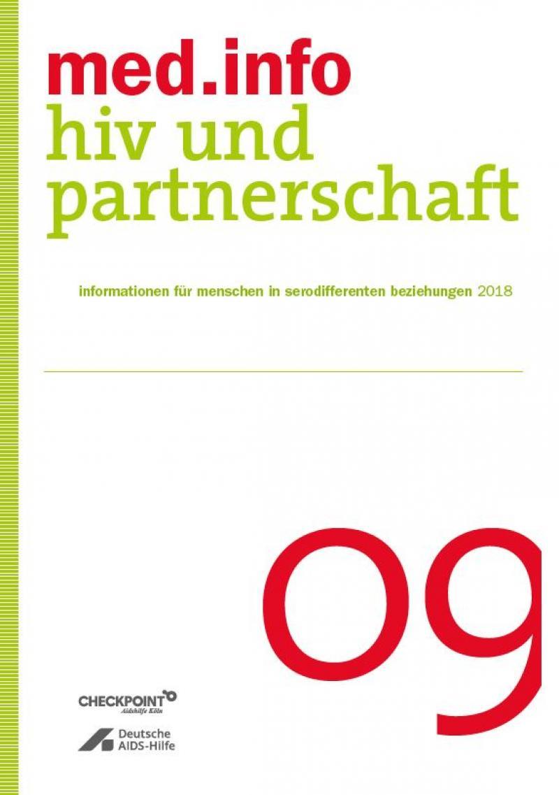 """weißer Hintergrund. Grüner Streifen an der Seite. Titel """"med.info 09 . Hiv und Partnerschaft"""""""
