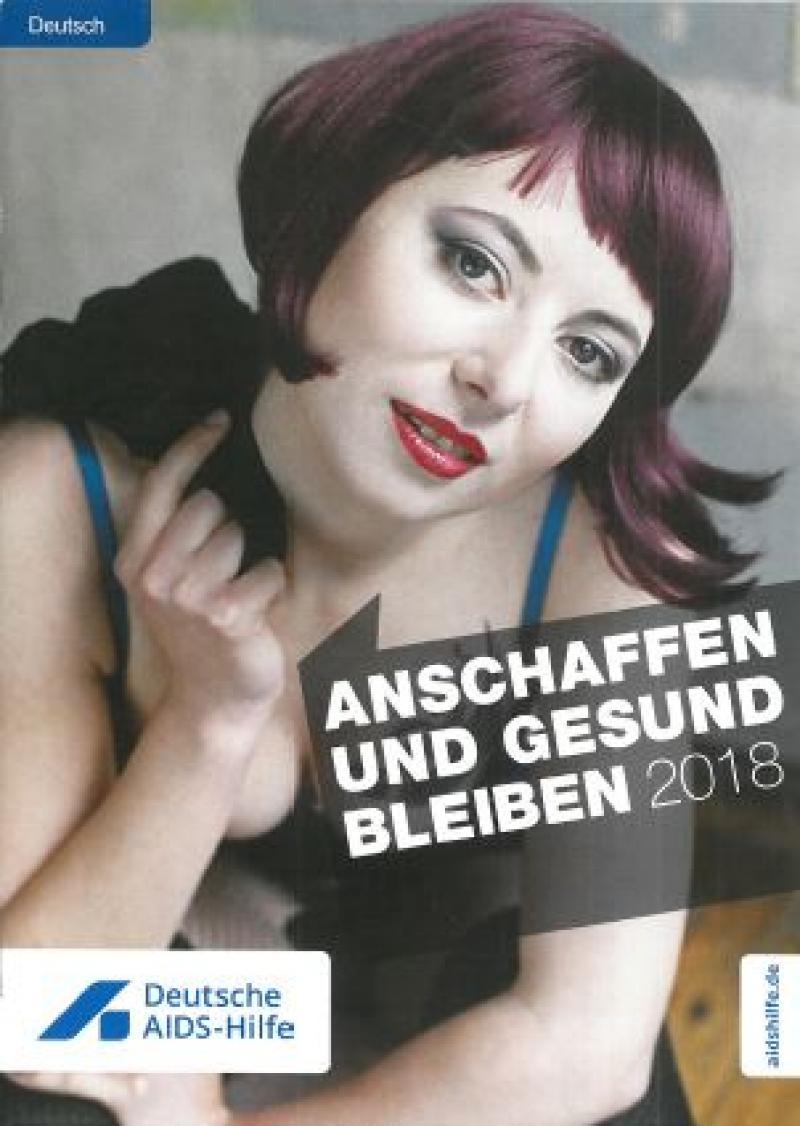 """Zu sehen ist eine rothaarige Sexarbeiterin. Titel """"Anschaffen und gesund bleiben"""". Sprache: Deutsch"""