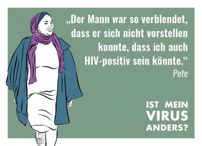 """Stilisierte Abbildung einer Frau mit Kopftuch. Kampagne """"Ist mein Virus anders?"""""""