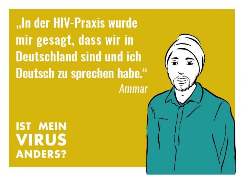 """Stilisierte Abbildung eines Mannes mit Turban. Kampagne """"Ist mein Virus anders?"""""""