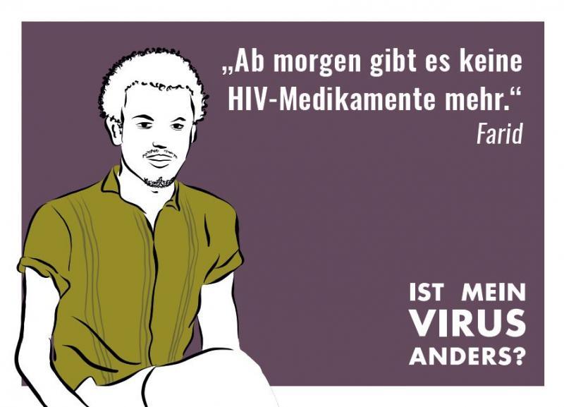 """Stilisierte Abbildung eines Mannes. Kampagne """"Ist mein Virus anders?"""""""