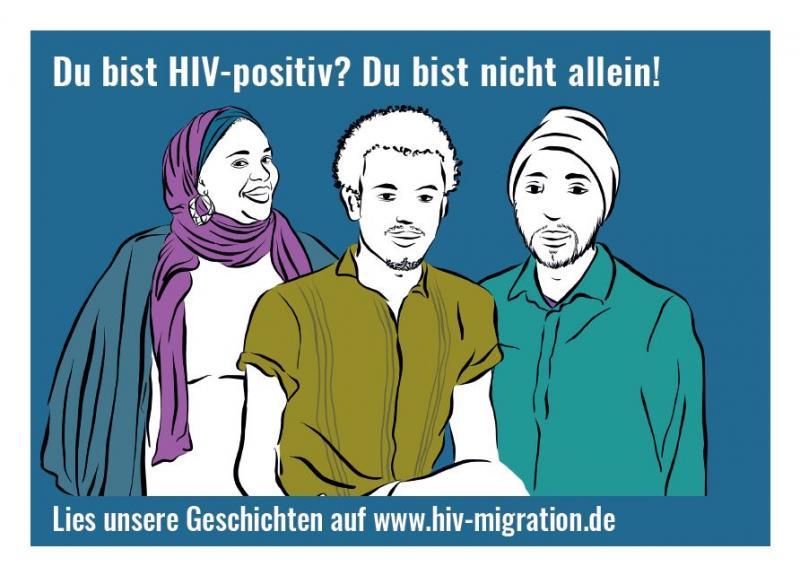 """Stilisierte Abbildungen von Migrant_innen aus verschiedenen Herkunftsländern. Kampagne: """"Ist mein Virus anders?"""""""
