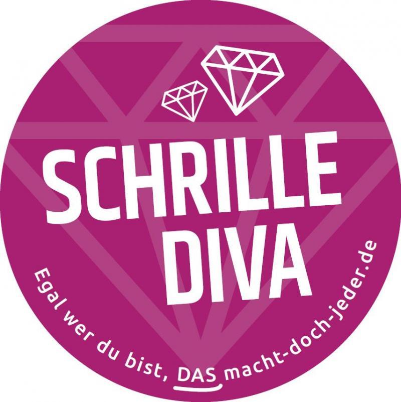 Weißer Text auf rot-lila Hintergrund: Schrille Diva