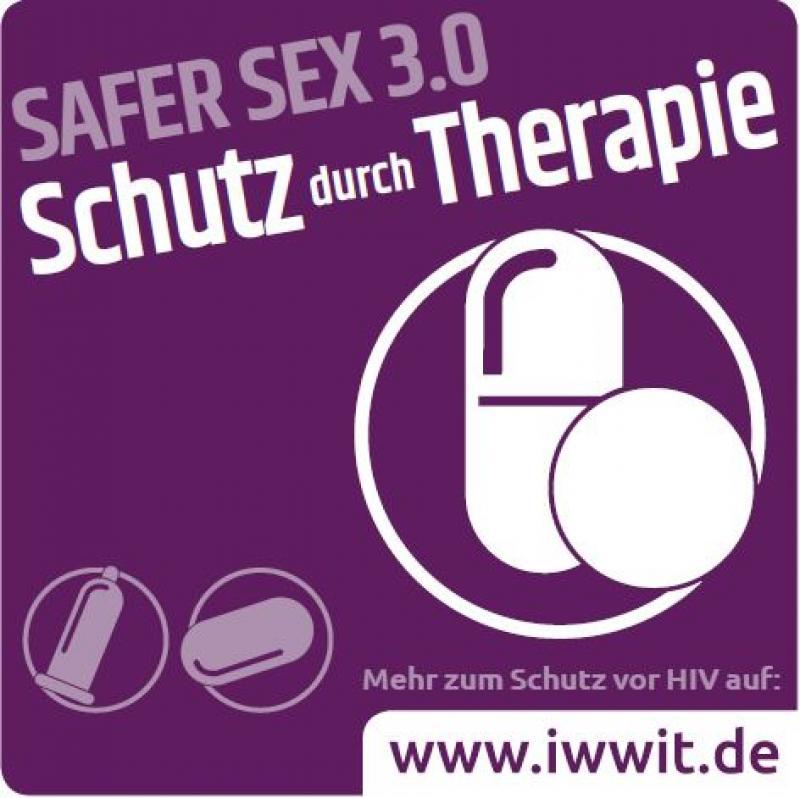 """Piktogram einer Pille und Tablette. Weiße Schrift auf lila Hintergrund. Text """"Safer Sex 3.0 - Schutz durch Therapie"""""""