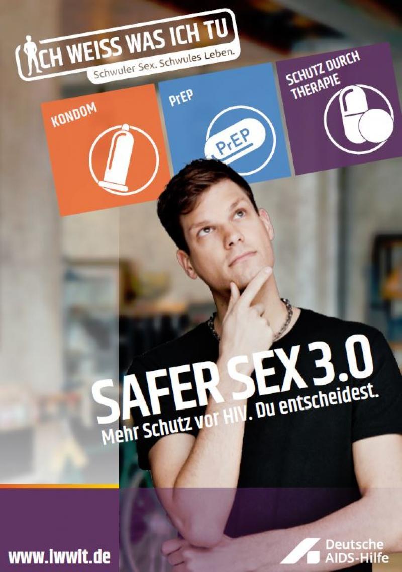 Nachdenklicher Mann steht unter den Piktogrammen für die drei HIV-Schutzmethoden Kondom, Prep, HIV-Therapie