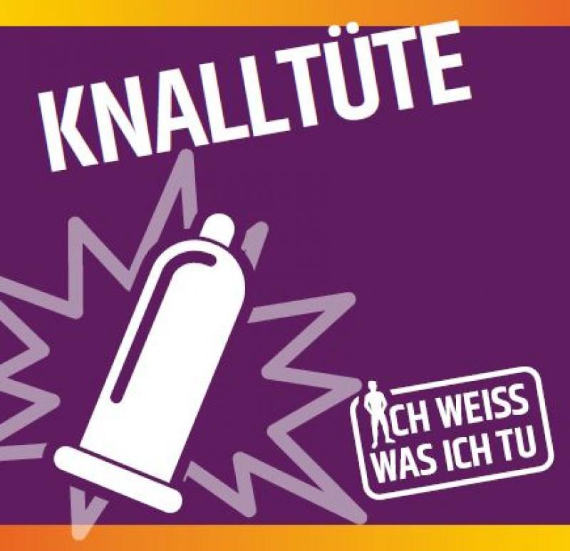 """Kondom mit """"KNalleffekt"""" vor lila Hintergrund. Titel """"Knalltüte"""""""