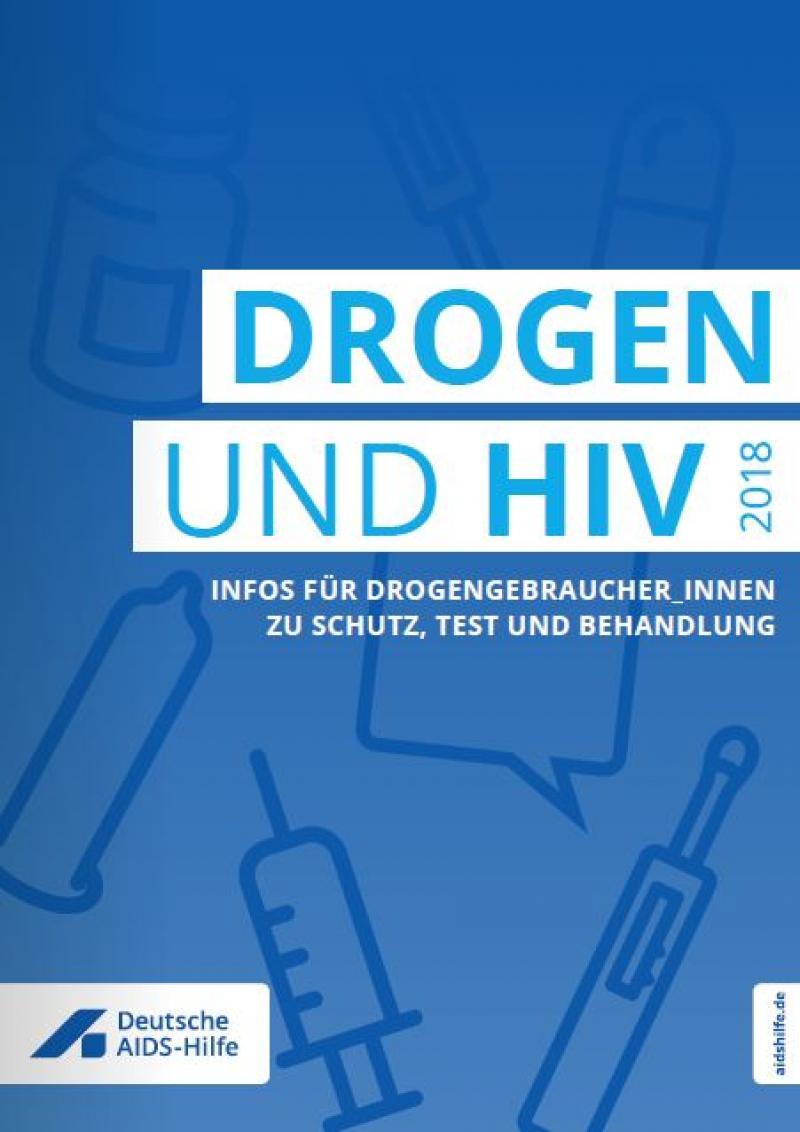 """Piktogramme von Spritzen, Kondomen auf Blauem Hintergrund. Titel """"Drogen und HIV"""""""