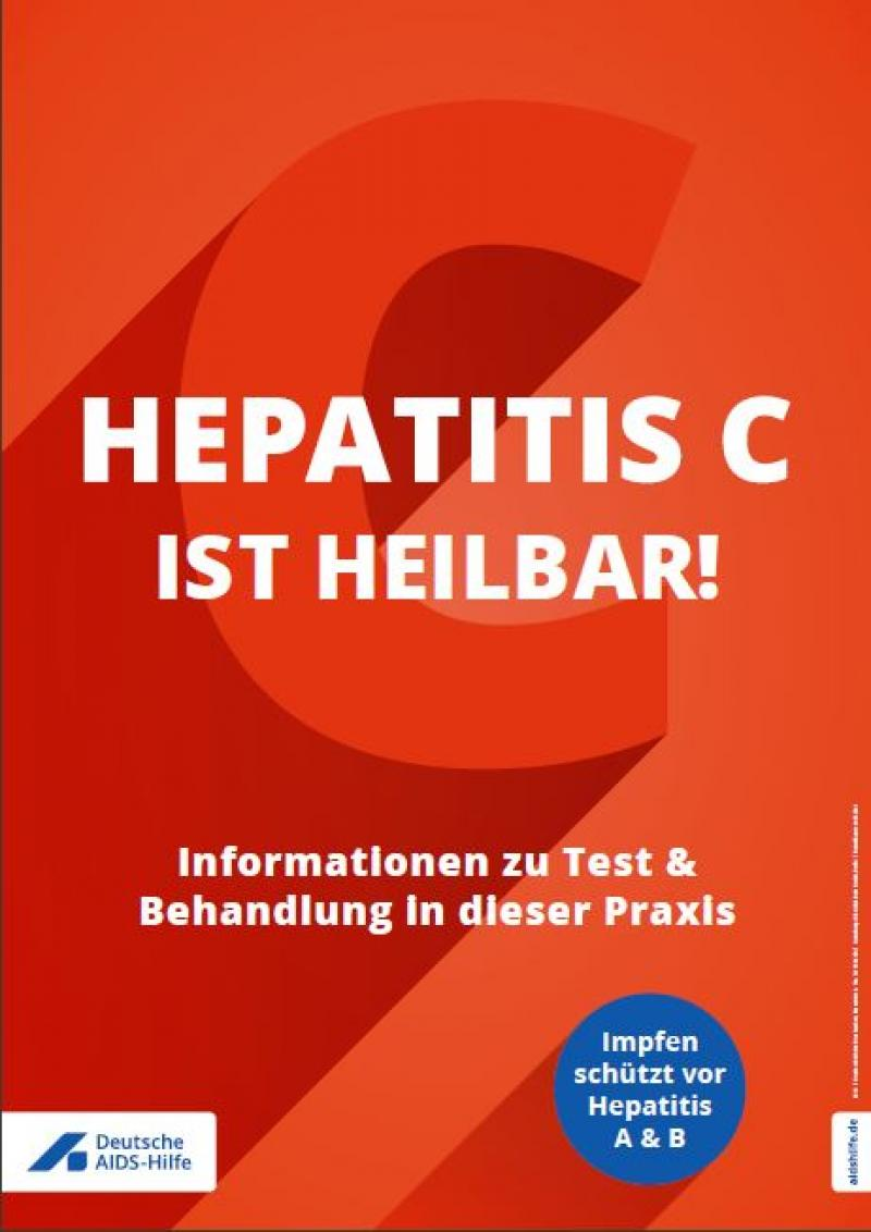 """Roter Hintergrund. Aufschrift """"Hepatitis C ist heilbar"""". Informationen zu Test & Behandlung in dieser Praxis"""