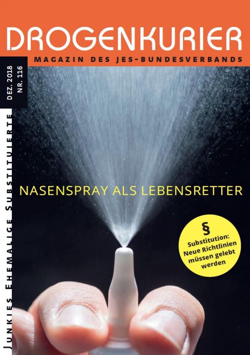 "Sprühwolke aus einem Nasenspray. Titel ""Drogenkurier Nr. 116 - Nasenspray als Lebensretter"""