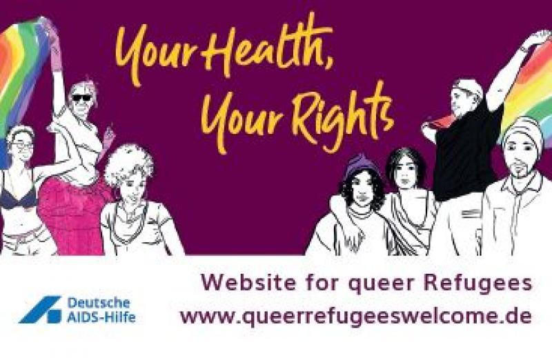 """Zeichnungen queerer Flüchtlinge aus diversen Kulturkreisen. In Englischer Schrift """"Your Health, Your Rights"""" mit Hinweis auf die WEbsite zu dieser Kampagne."""