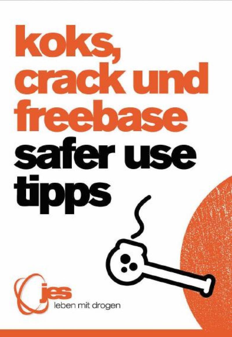 """Weißer Hintergrund. Eine Zeichnung von einer Crackpfeife. Titel """"koks, crack, freebase - safer use tipps"""""""