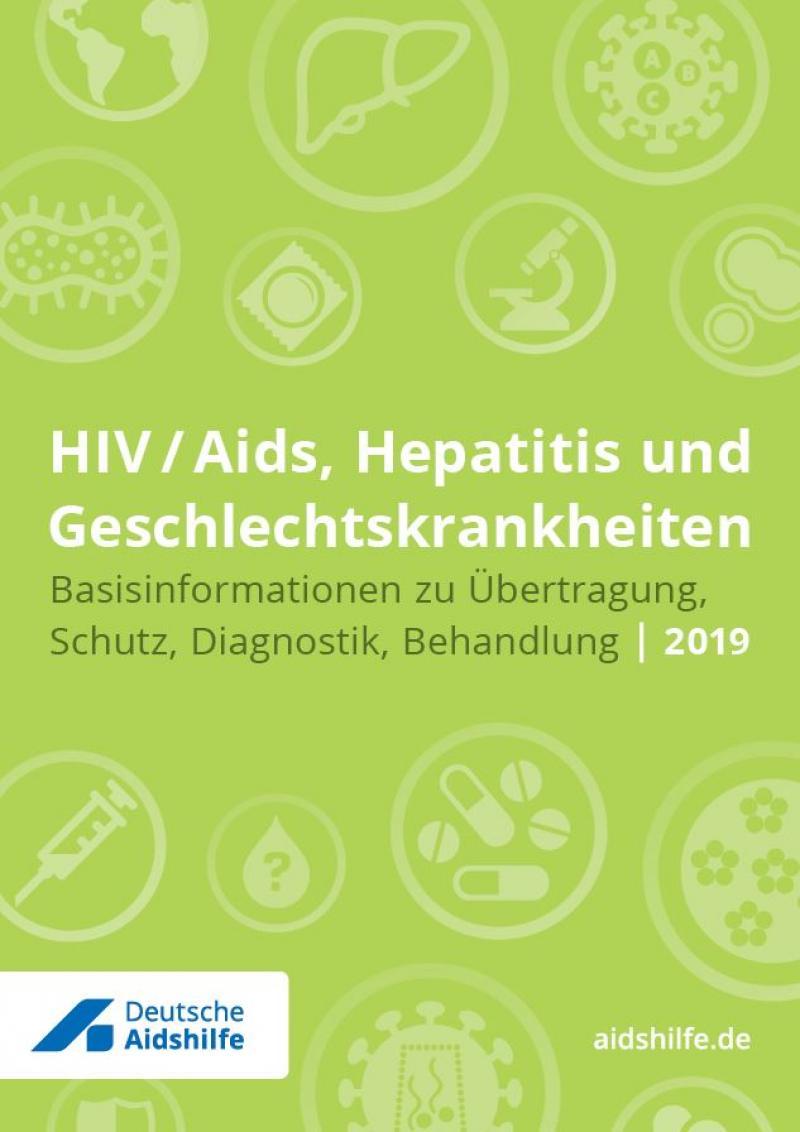 """Grüner Hintergrund mit verschiedenen Piktogrammen (zum Beispiel Kondom, Pillen, Mikroskop). Titel """"HIV/Aids, Hepatitis und Geschlechtskrankheiten"""""""