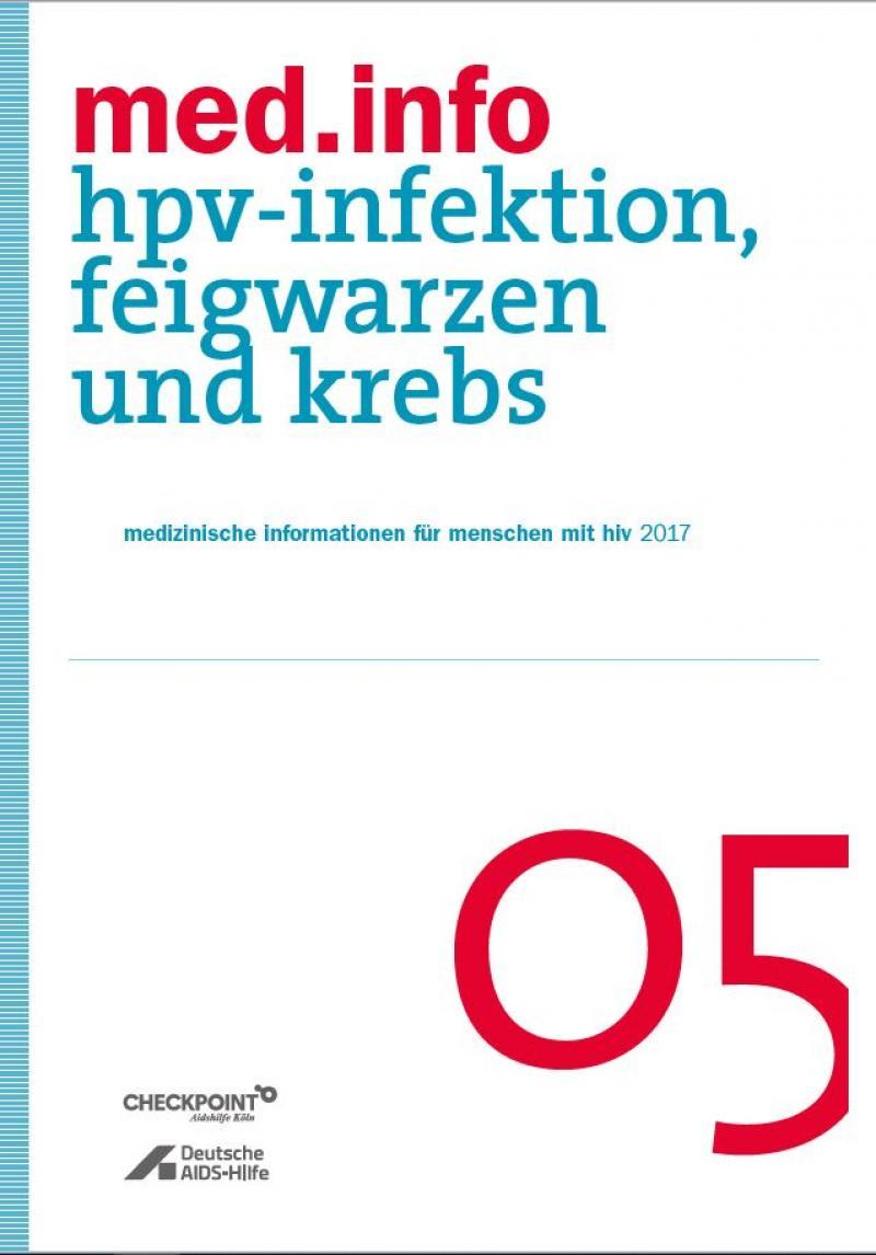 """Weißer Hintergrund. Blauer Streifen an der Seite. Titel """"med.info 05 -HPV-Infektion, Feigwarzen und Krebs"""""""