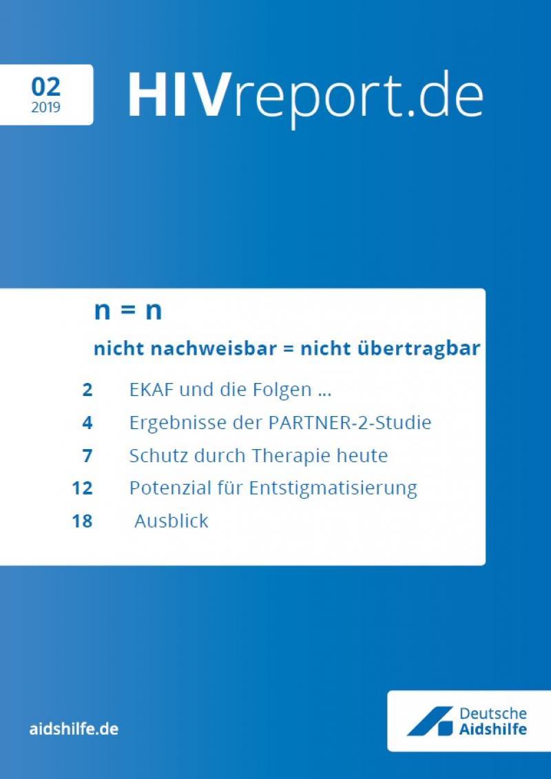 """Blauer HIntergrund. In weißem Feld die Themen der Ausgabe. Titel """"HIV.report 02/2019"""""""