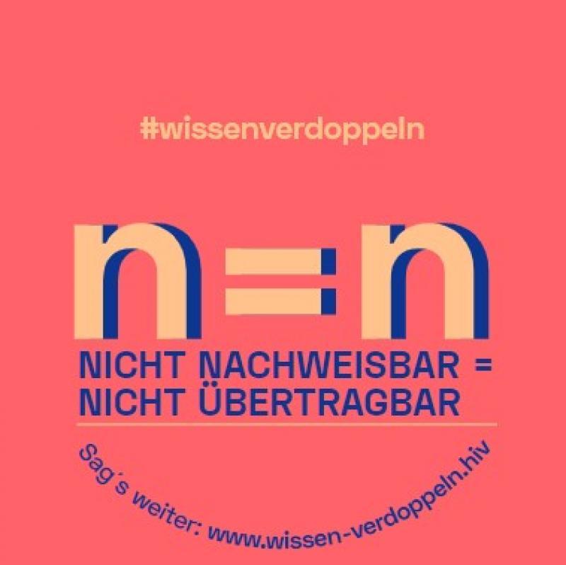 """Roter Hintgergrund. TExt """"n=n - nicht nachweisbar = nicht übertragbar"""""""