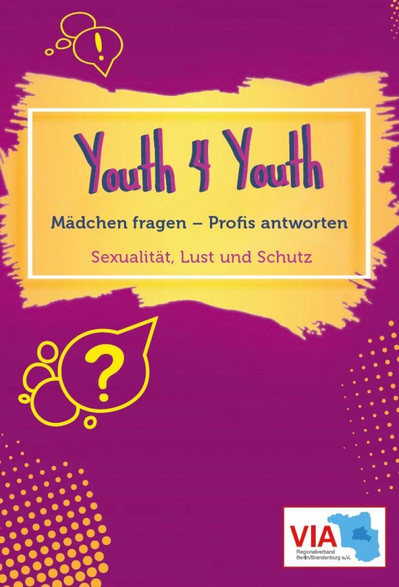 """Lila Hintergrund. Gelbes Feld. Titel """"Youth 4 Youth - Mädchen fragen - Profis antworten (deutsch/dari)"""""""