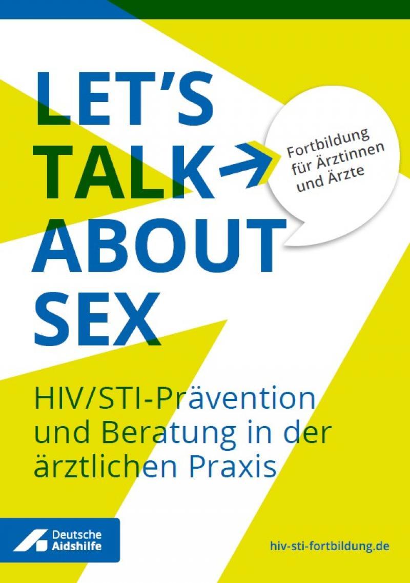 """Gelber Hitnergrund mit weißem Pfeil. Titel """"Let's talk about sex."""""""