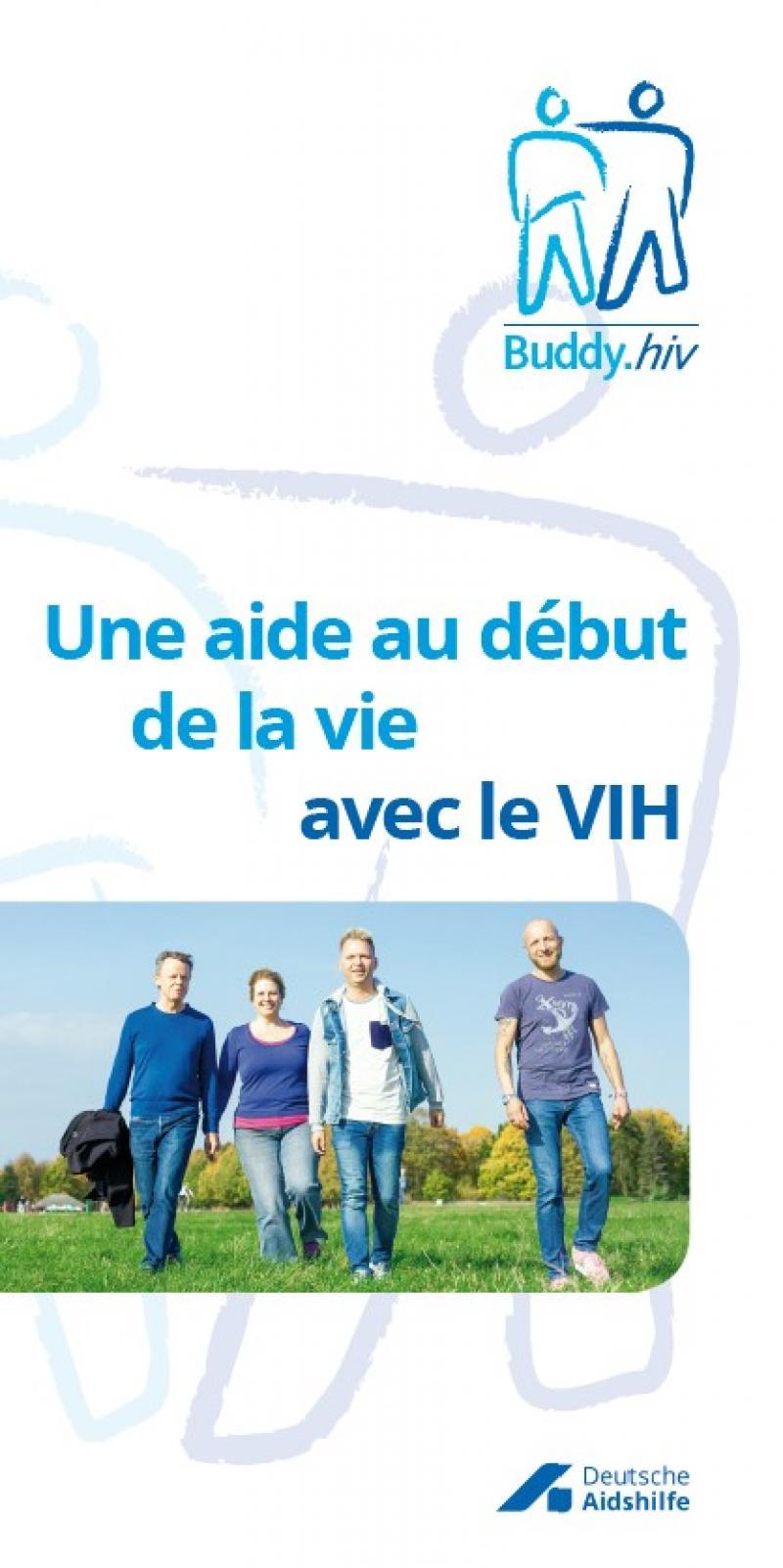 Weißer Hintergrund. Symbol des Buddy Projektes. Foto von vier Personen, die über eine Wiese laufen.