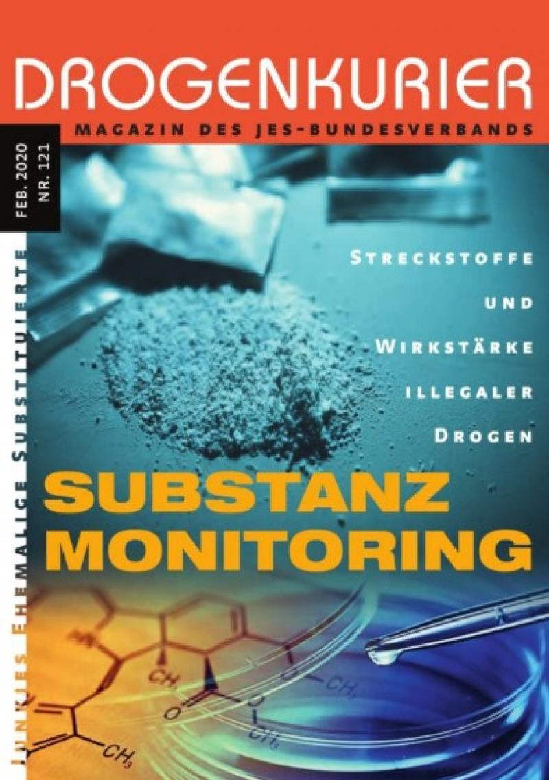 """Abgebildet sind ein Pulver und eine Petrischale und eine Pipette. Titel """"Drogenkurier Nr. 121 - Substanz Monitoring"""""""