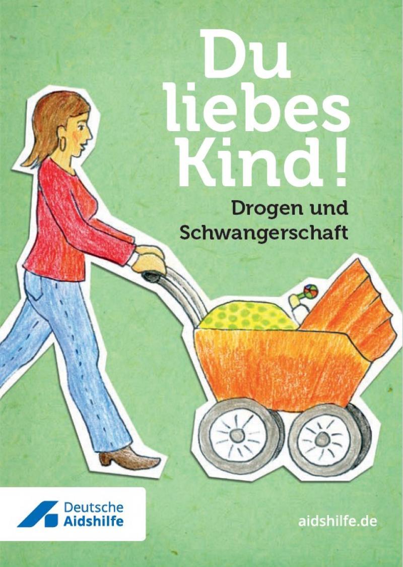 Asugeschnittenes, gemaltes Bild einer Frau mit Kinderwagen auf grünem Hintergrund.